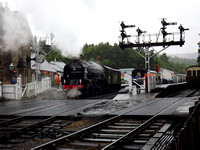 At 9 am, A1 4-6-2 No 60163 Tornado comes off shed into Grosmont station